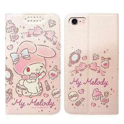 三麗鷗授權 iPhone 8/iPhone 7 4.7吋 粉嫩系列彩繪磁力皮套(粉撲)