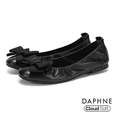 達芙妮DAPHNE 娃娃鞋-質感牛皮蝴蝶結雲軟鞋墊娃娃鞋-黑