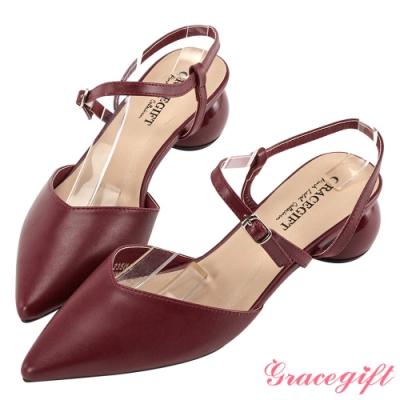 Grace gift-素面尖頭造型圓跟鞋 深紅