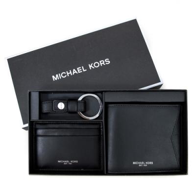 MICHAEL KORS Gifting 燙銀牛皮短夾證件套鎖圈禮盒組(黑色)