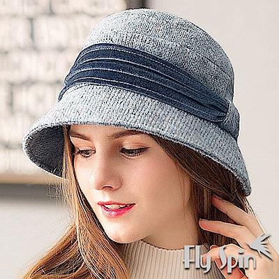 FLYSPIN 防寒絨帶飾高雅針織淑女圓邊定型冬盆帽