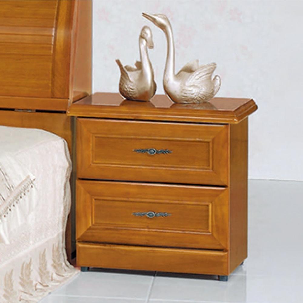 AS-泰勒實木樟木色床頭櫃-54x39x54cm
