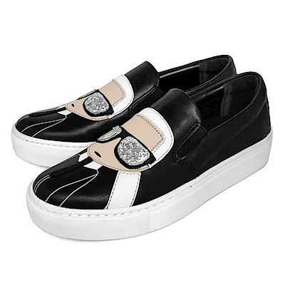 KARL LAGERFELD Q版卡通卡爾圖案樂福鞋 (黑色)