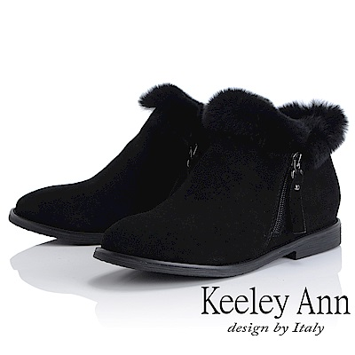 Keeley Ann 俏皮甜心~絨毛滾邊側拉鍊短靴(黑色-Ann)