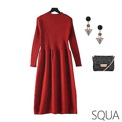 SQUA 立領坑條針織洋裝-三色