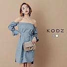 東京著衣-KODZ 平口一字領鬆緊泡泡袖洋裝-S.M.L(共二色)