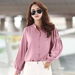 正韓 純色珍珠壓摺燈籠袖襯衫 (共三色)-N.C21