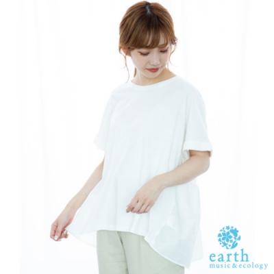 earth music 異素材拼接設計短袖T恤