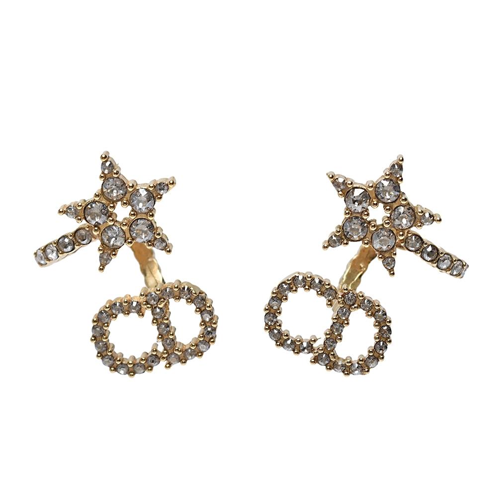 DIOR 經典Clair D Lune CD LOGO水鑽鑲飾星星造型穿式耳環(金)