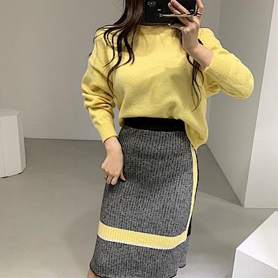 DABI 韓國風撞色針織高腰包裙套裝長袖裙裝