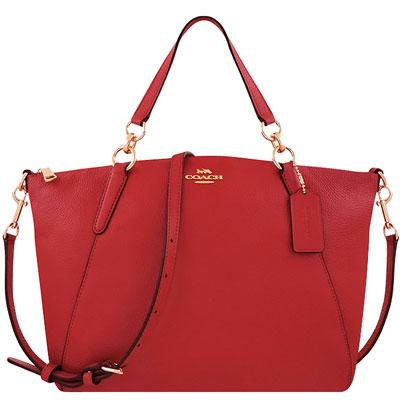 COACH 紅色荔枝紋皮革波士頓包