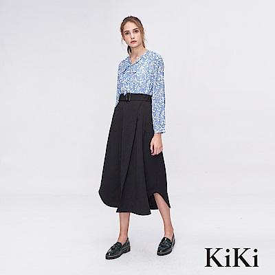 KiKi INLook 不規則斜片剪裁腰帶長裙(黑色)