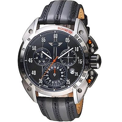 MINI Swiss Watches極速運動計時腕錶(MINI-160114)-灰x黑
