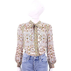 TORY BURCH Kia Bow 幾何花卉粉色綁帶雪紡襯衫