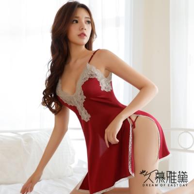 性感睡衣 水溶蕾絲優雅絲滑吊帶裙。紅色 久慕雅黛