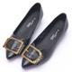 2-Maa-率性方釦牛皮低跟尖頭娃娃鞋-黑