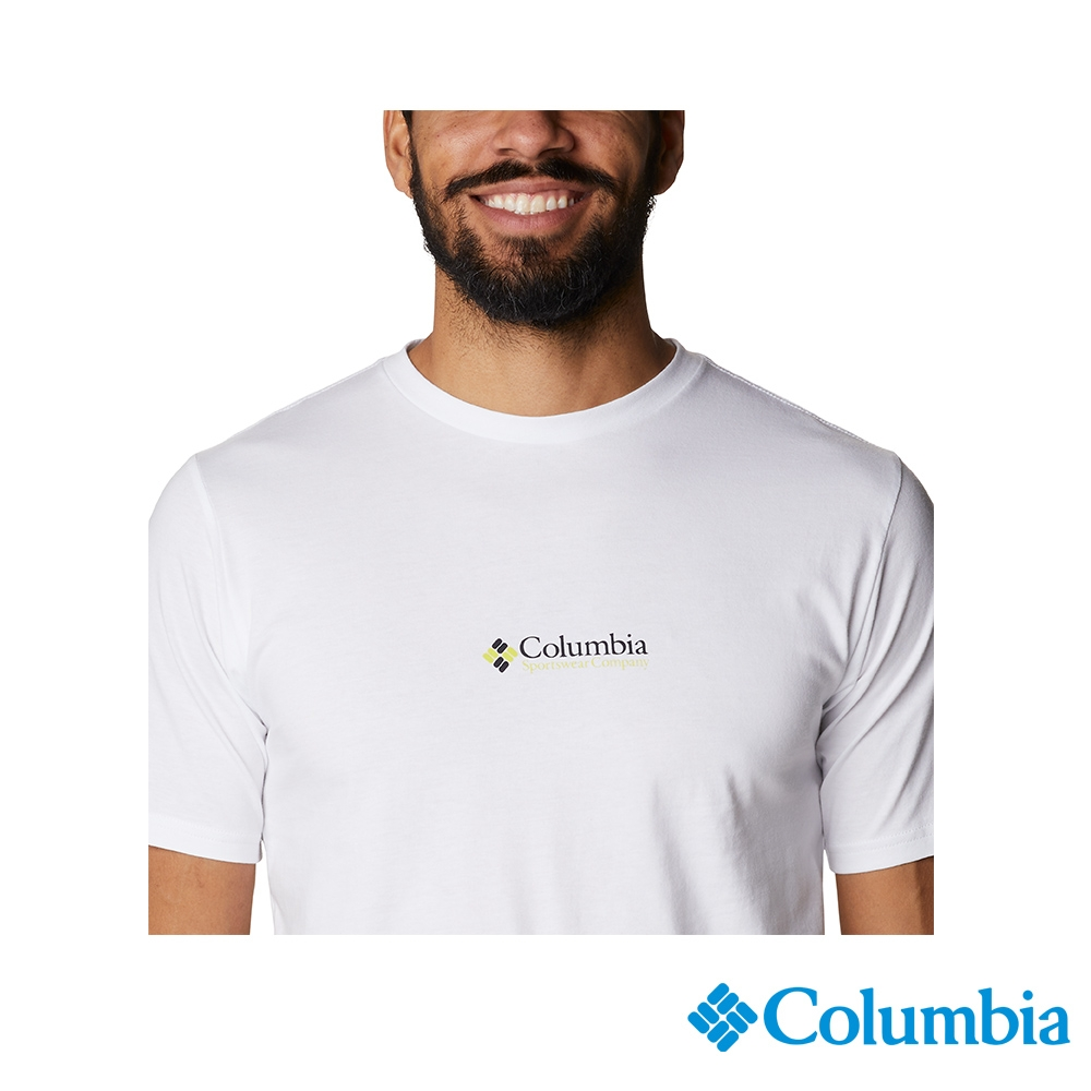 Columbia 哥倫比亞 男女款- LOGO棉短袖上衣-3色  活動款 (男款-白色)