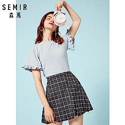 SEMIR森馬-傘型袖羅紋針織短袖上衣-女