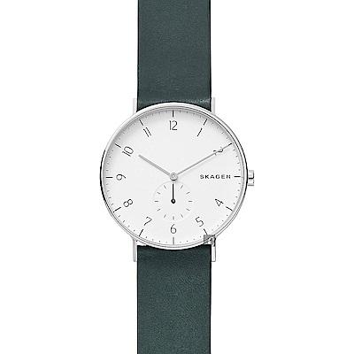 SKAGEN Aaren 小秒針石英錶-白x綠/40mm (SKW6466)