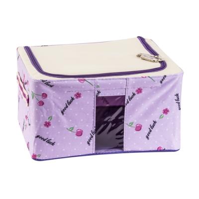 樂嫚妮 11L防潑水單視窗文件桌面收納箱/折疊收納箱-紫-30X24X15cm