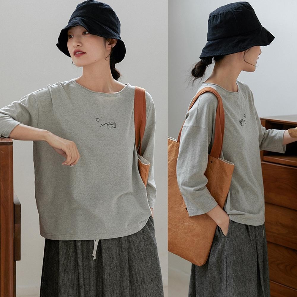 童趣手繡棉麻T恤寬鬆短版上衣-設計所在