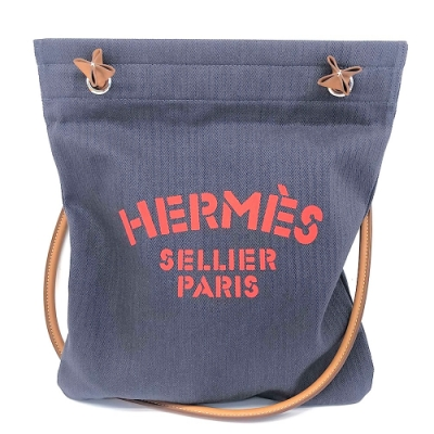 HERMES 經典ALINE HERMES字母LOGO帆布肩背包(深藍X橘紅字)