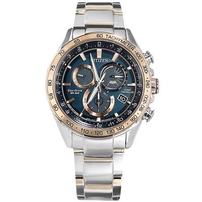 CITIZEN 光動能 萬年曆 電波錶 日期 不鏽鋼手錶-藍x鍍香檳金/43mm