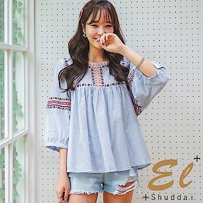 正韓 刺繡民風泡袖娃娃裝-(藍色)El Shuddai