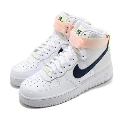 Nike 休閒鞋 Air Force 1 High 運動 女鞋 基本款 AF1 高筒 舒適 皮革 穿搭 白 深藍 334031117