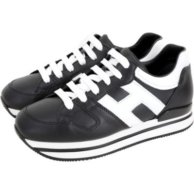 HOGAN H222 全皮襯裡厚底繫帶休閒鞋(黑色)