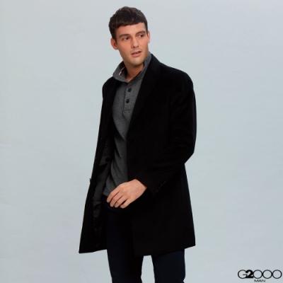 長版羊毛素面大衣-黑色