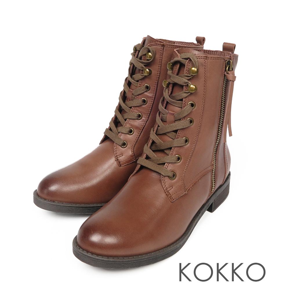 KOKKO - 部落客最愛極簡牛皮綁帶短靴 - 焦糖拿鐵