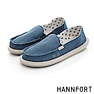 HANNFORT COZY可機洗帆布氣墊休閒鞋-女-深水藍