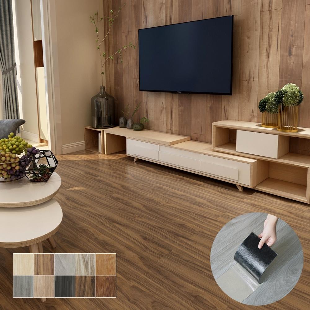 澄境 DIY自黏式加厚耐磨仿木紋地板貼/壁貼(36片)