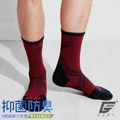 GIAT專利護跟類繃壓力消臭3/4運動襪(紅)