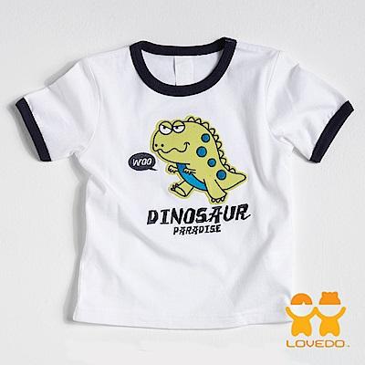 【LOVEDO-艾唯多童裝】霸主暴龍 拼布式短袖T恤 (白)
