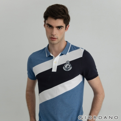 GIORDANO 男裝Supremacy POLO衫 - 24 藍/白