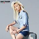 Big Train 素色牛津配花布女襯衫-女-淺藍