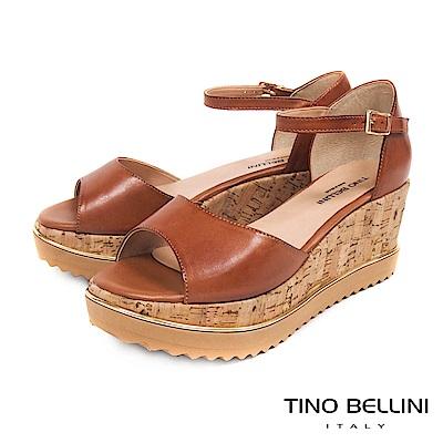 Tino Bellini 巴西進口復古原色繫踝楔型涼鞋 _ 棕