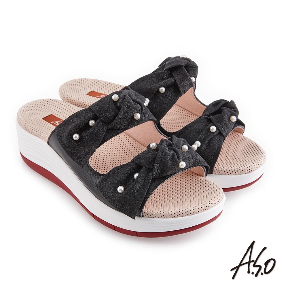 A.S.O 時尚流行 輕穩健康鞋金蔥布料條帶拖鞋-黑