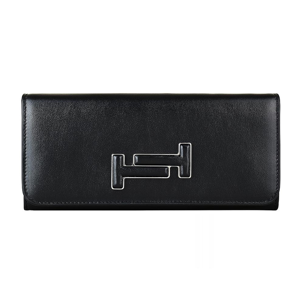 TOD'S經典雙T立體LOGO牛皮18卡扣式長夾(黑)