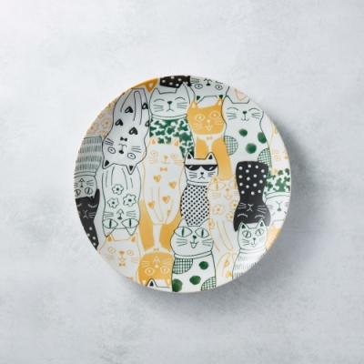 有種創意 日本美濃燒-酷花貓餐盤 - 黃