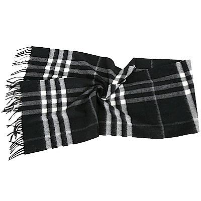 BURBERRY 100%喀什米爾黑色經典格紋圍巾