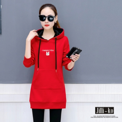 JILLI-KO 時尚撞色字母刺繡刷毛中長版連帽上衣- 黑/紅