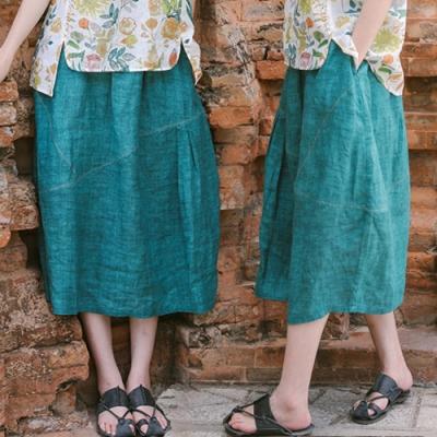 純苧麻棉麻復古鬆緊腰文藝寬鬆中長版A字裙-設計所在