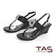 TAS華麗白鑽飾扣夾腳楔型涼鞋-經典黑 product thumbnail 1