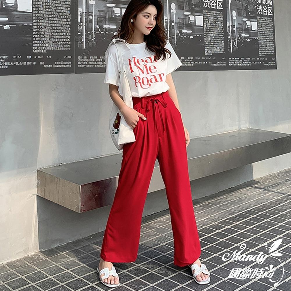 Mandy國際時尚 純色字母T恤+直筒寬褲 套裝_預購【韓國服飾】