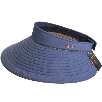 DAKS 經點品牌LOGO刺繡運動型可收式大帽緣遮陽帽(單寧藍色)