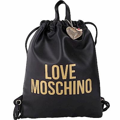 LOVE MOSCHINO 金字附鑽心吊飾束口皮革後背包(黑色)