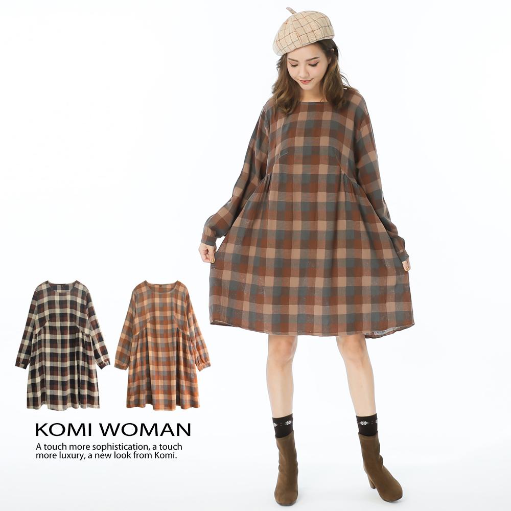 【KOMI】棉麻森林格紋大口袋洋裝-兩色